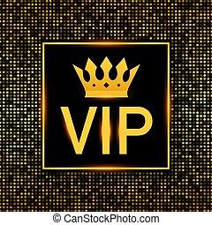 esclusività, esclusività, icona, -, etichetta, vettore, persona, glitter., luminoso, molto, importante, illustration., fondo, segno, scuro, simbolo, glow., vip, dorato, casato