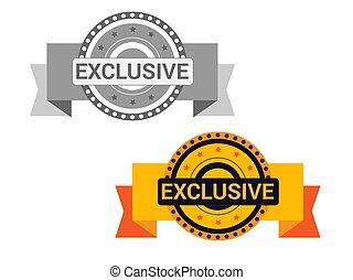 esclusivo, offerta, dorato, isolato, segno, fondo., sigillo, bianco, medaglia, icona