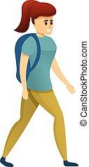 escursionista, cartone animato, stile, icona, ragazza