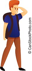 escursionista, giovane, esplorare, cartone animato, stile, icona