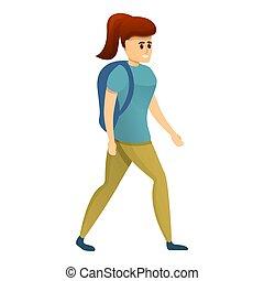 escursionista, icona, stile, ragazza, cartone animato