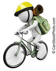 escursionista, persone., bianco, motociclista, 3d