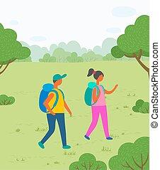escursionisti, zaini, albero, natura, coppia