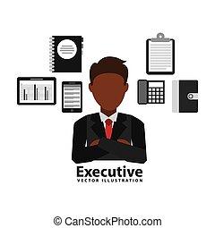 esecutivo, affari, disegno