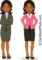 esecutivo, donna, nero