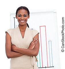 esecutivo, femmina, vendite, segnalazione, sorridente, figure