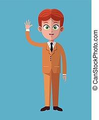esecutivo, lavoro, cartone animato, uomo affari