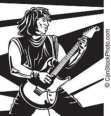 eseguire, chitarrista, -, concerto, piombo
