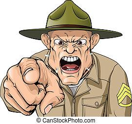 esercito, arrabbiato, gridare, sergente, trapano, cartone animato