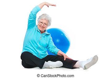 esercizi, donna senior, stiramento