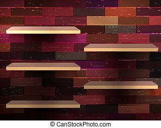 esibire, 10, colorare, mensola, eps, wood., vuoto