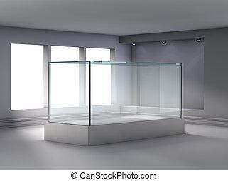 esibire, nicchia, riflettori, bacheca, vetro, galleria, 3d