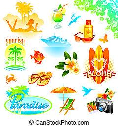 esotico, set, viaggiare, ricorso, vacanze, tropicale, vettore