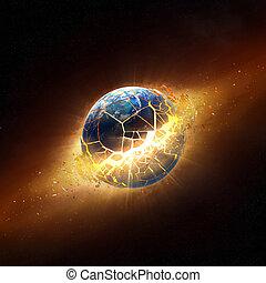 esplodere, terra, pianeta, spazio