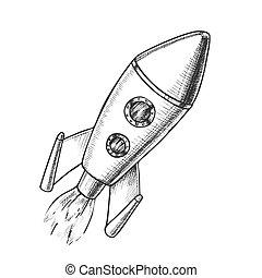 esplorare, razzo, spazio, lancio, vettore, monocromatico
