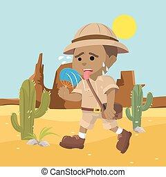 esploratore, calore, sofferenza, africano