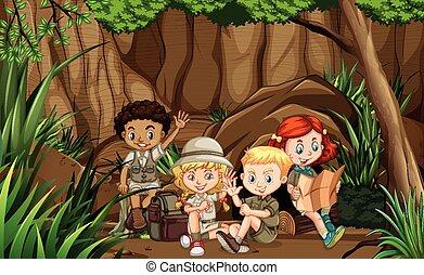 esploratore, gruppo, foresta