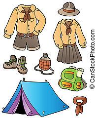 esploratore, ingranaggio, collezione, vestiti