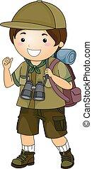 esploratore ragazzo, ingranaggio, campeggiare