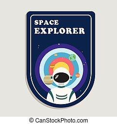 esploratore, spazio, immagine, sistema, vettore, astronauta, fondo, solare