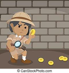 esploratore, traccia, segno, scia, moneta, africano, seguente