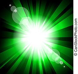 esplosione, raggio, effetto, luci, bagliore, lente