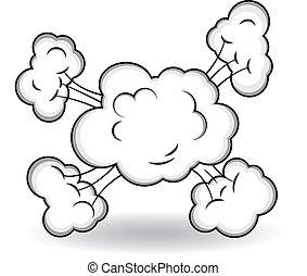 esplosione, vettore, comico, nubi