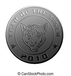 esposizione, 2010, tiger, anno, nuovo, moneta, argento
