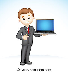 esposizione, 3d, laptop, uomo affari