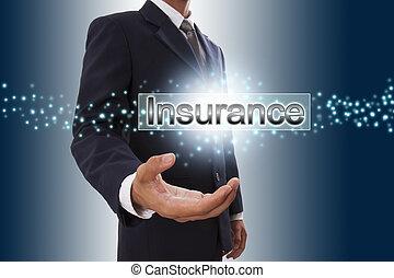 esposizione, bottone, screen., virtuale, mano, uomo affari, assicurazione