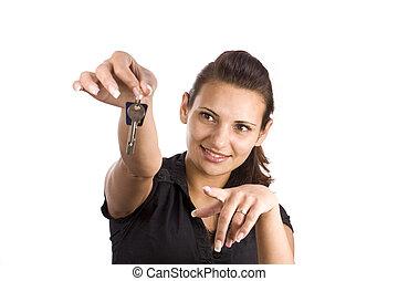 esposizione, donna, chiave