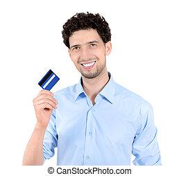 esposizione, isolato, credito, bello, scheda, uomo