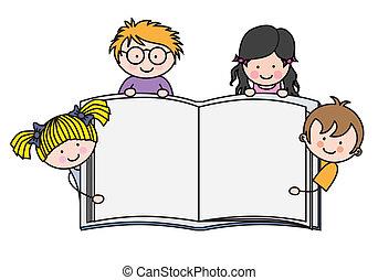 esposizione, libro, bambini, vuoto