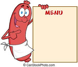 esposizione, menu, salsiccia