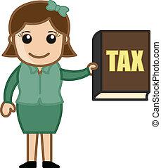 esposizione, ragazza, vettore, tassa, libro
