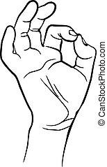 esposizione, segno, ok, uomo, mano