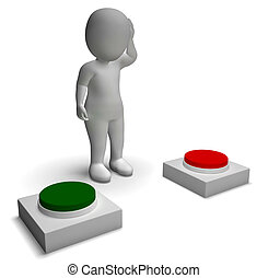 esposizione, spinta, carattere, indecisione, scelta, bottoni, 3d