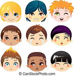 espressione, facciale, collezione
