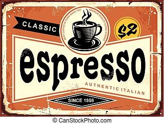 espresso, segno, vendemmia, autentico, italiano, stagno