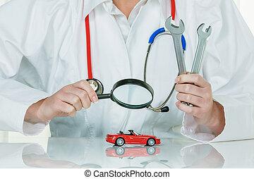 essendo, automobile, esaminati, dottore