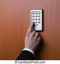 essendo, elettronico, sicurezza, attivato, sistema