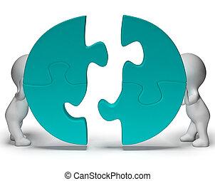 essendo, esposizione, jigsaw, accomunato, pezzi, lavoro squadra, affiatamento