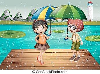 essendo, pioggia, bambini