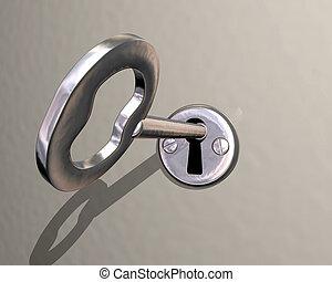 essendo, serratura, girato, illustrazione, chiave, baluginante, argento