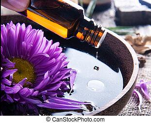 essenziale, aromatherapy., trattamento, oil., terme