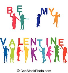 essere, lettere, valentina, silhouette, presa a terra, mio, bambini