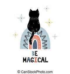 essere, stampa, magico, gatto, cosmico, nero, seduta, bambini, trendy, carino, rainbow.