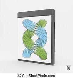 essere, usato, cd-case., marketing, dvd-case, o, presentation., lattina, vuoto, pubblicità, 3d.