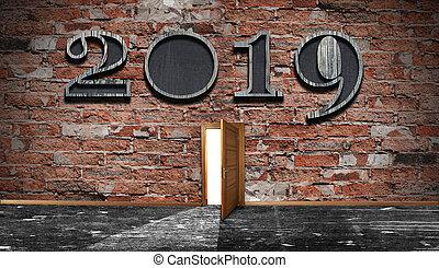 essere, usato, concept., wall., segno, scuro, fondo., 2019, lattina, anno, fronte, nuovo, mattone, celebrattion, vista.