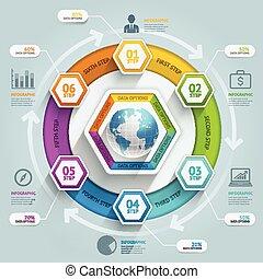 essere, usato, illustration., diagramma, workflow, timeline, opzioni, su, numero, disposizione, vettore, web, freccia, 3d, passo, bandiera, esagono, infographics., design., lattina